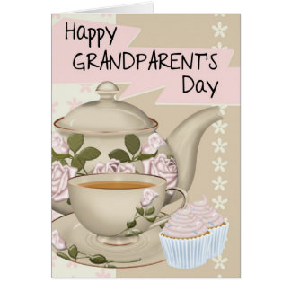 Tea And Cupcake Grandparent's Day Greeting Card