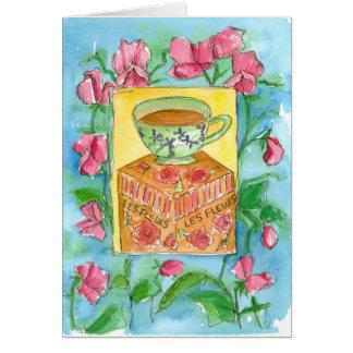 Tea and Flowers Happy Birthday Sweet Peas Card