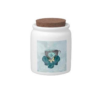Tea and Roses Aqua Candy Jar