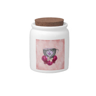 Tea and Roses Pink Candy Jars
