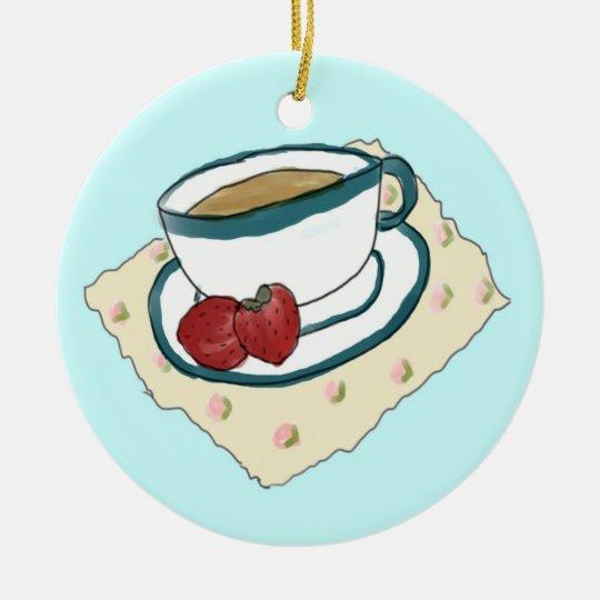Tea and Strawberries Ornament