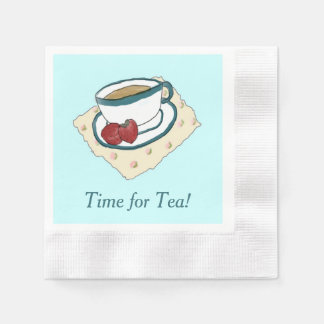 Tea and Strawberries Watercolor Painting Napkins Paper Napkin
