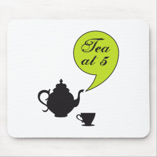 Tea at five, vintage tea pot and cup mouse pad