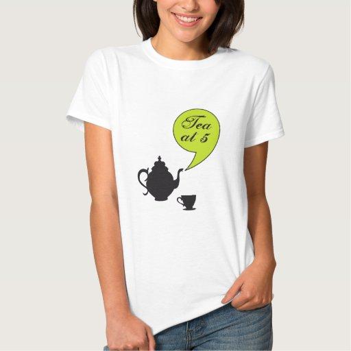 Tea at five, vintage tea pot and cup t shirts