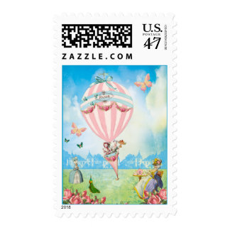Tea at Versailles Pink Balloon and Butterflys Postage Stamp