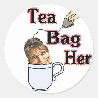 tea bag-her classic round sticker