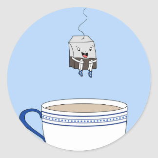 Tea bag jumping in cup classic round sticker