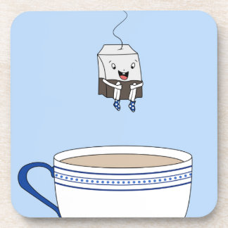 Tea bag jumping in cup coaster