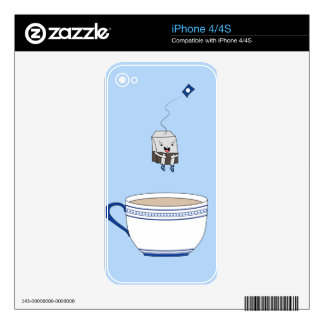 Tea bag jumping in cup decals for iPhone 4