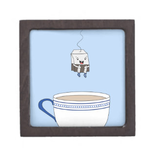 Tea bag jumping in cup gift box