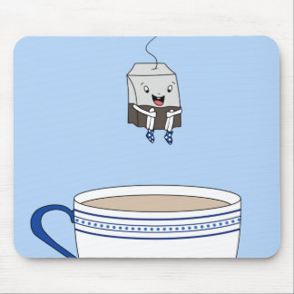 Tea bag jumping in cup mouse pad