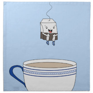 Tea bag jumping in cup napkin
