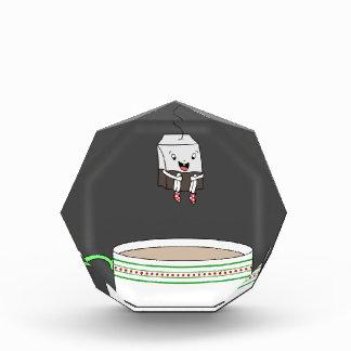 Tea bag jumping in cup of tea acrylic award