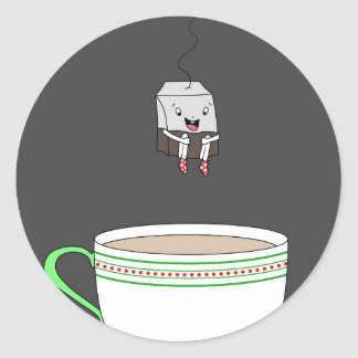 Tea bag jumping in cup of tea classic round sticker