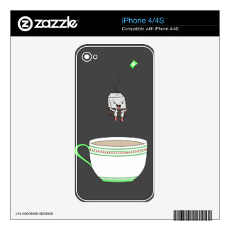 Tea bag jumping in cup of tea decals for the iPhone 4S