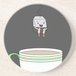 Tea bag jumping in cup of tea drink coaster