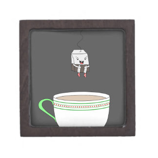 Tea bag jumping in cup of tea gift box