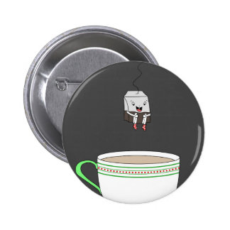 Tea bag jumping in cup of tea pinback button