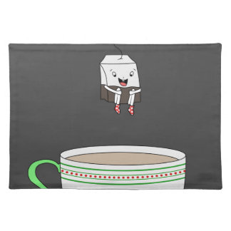 Tea bag jumping in cup of tea placemat