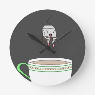 Tea bag jumping in cup of tea round clock