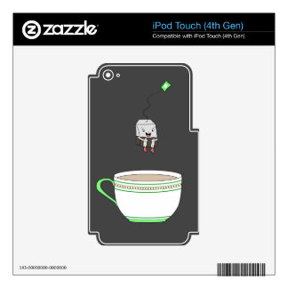 Tea bag jumping in cup of tea skin for iPod touch 4G