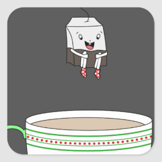 Tea bag jumping in cup of tea square sticker