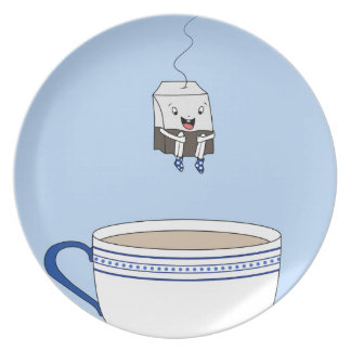 Tea bag jumping in cup plate