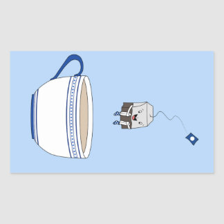 Tea bag jumping in cup rectangular sticker
