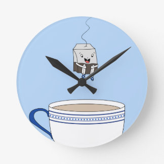 Tea bag jumping in cup round clock