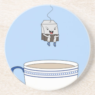 Tea bag jumping in cup sandstone coaster