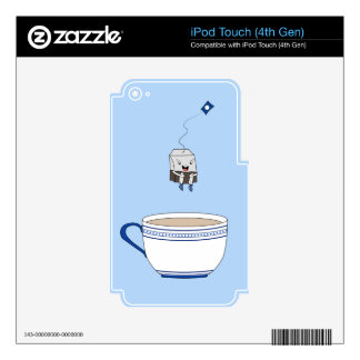 Tea bag jumping in cup skin for iPod touch 4G