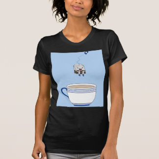Tea bag jumping in cup t-shirt