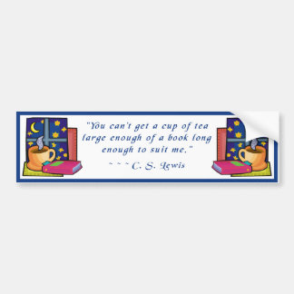 Tea & Books w quote Bumper Stickers
