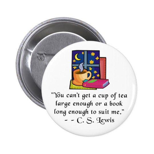 Tea & Books w Quote Buttons - 2 shapes, 6 sizes