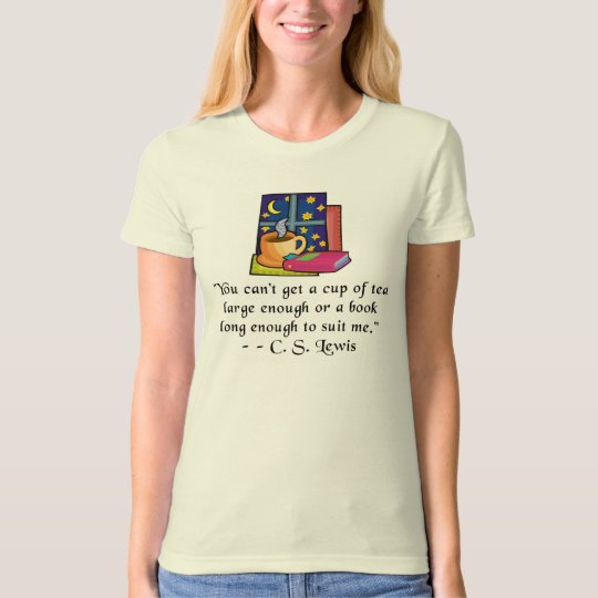 Tea & Books w Quote Ladies Fitted Organic T T-Shirt
