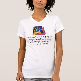 Tea & Books w Quote Ladies Fitted Tank Top, 5 clrs