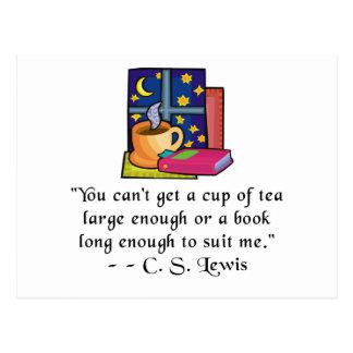 Tea & Books w Quote Postcard