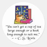 Tea & Books w Quote Round Stickers, 2 sizes