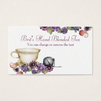 tea brewing ball teacup flowers business card, ... business card