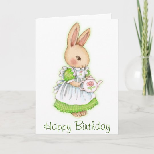 Tea Bunny Cute Rabbit Birthday Card Zazzle