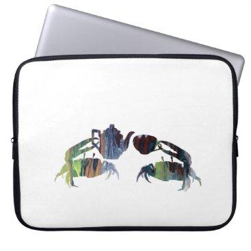 Beach Themed Tea crabs laptop sleeve