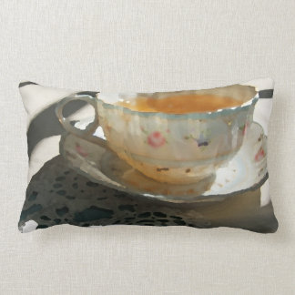 Tea Cup and Saucer on Lace Throw Pillow