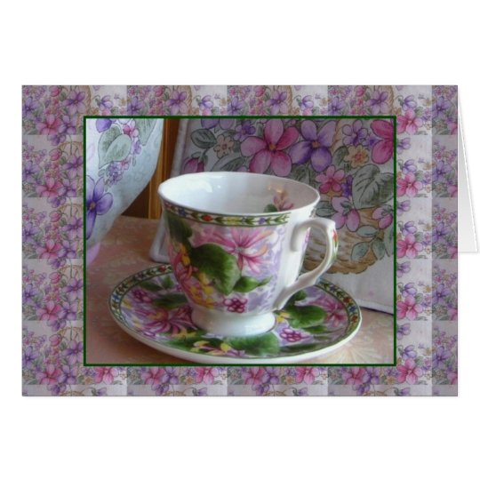 Tea Cup and Violet Bouquet Tea Cozy Greeting Card