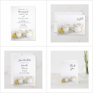 Tea Cup and Yellow Daisies Wedding Stationery