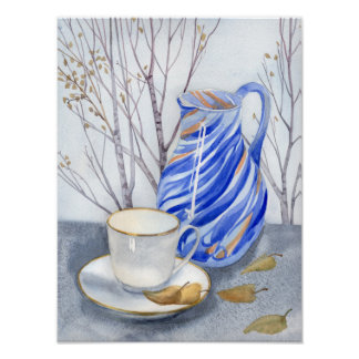 Tea cup & blue jar in October Poster