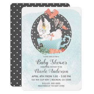 Tea Cup Bunny Rabbit Watercolor Baby Shower Invitation