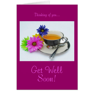Tea cup & daisies: Get well soon! Greeting Card