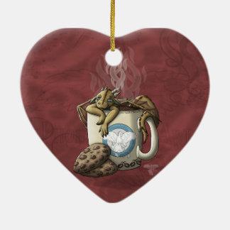 [Tea Cup Dragon] Coffee Double-Sided Heart Ceramic Christmas Ornament