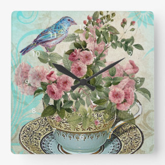 Tea cup flowers square wall clock