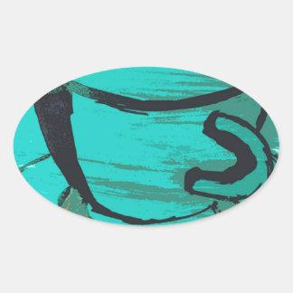 tea cup in green oval sticker